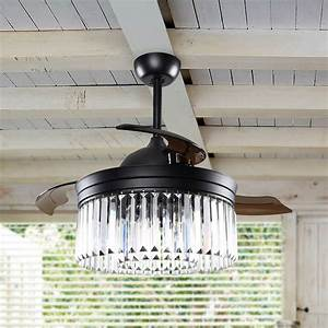 42, U0026quot, Modern, Crystal, Ceiling, Fan, With, Lights, Remote, And, Retractable, 3, Blades, Chandelier, Fan, 6