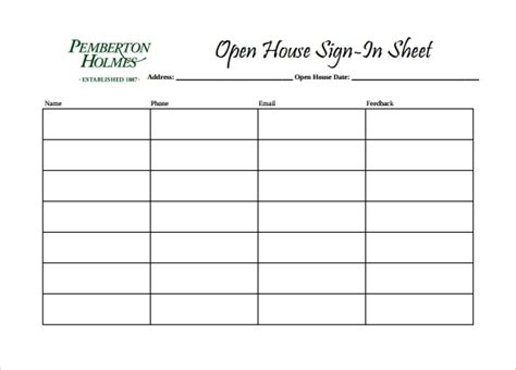 sample open house sign  sheet  documents