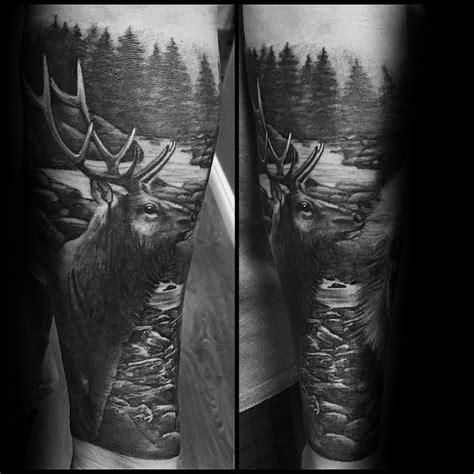elk tattoo ideas  men cervidae animal designs