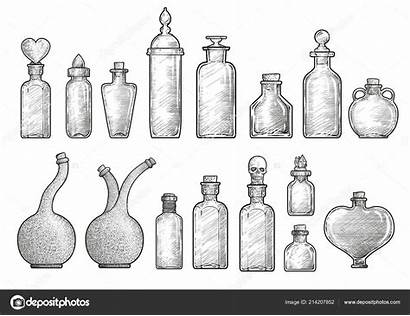 Potion Bottle Drawing Medicine Line Bottles Ink