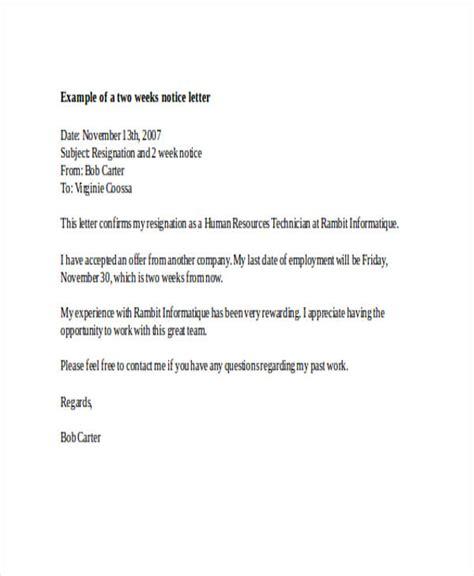 resignation letter 2 week notice 19 two weeks notice letter exles sles