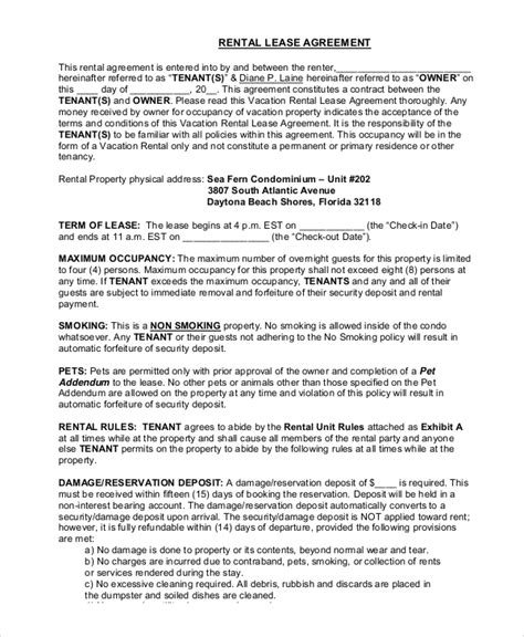 sample rental lease templates   ms word