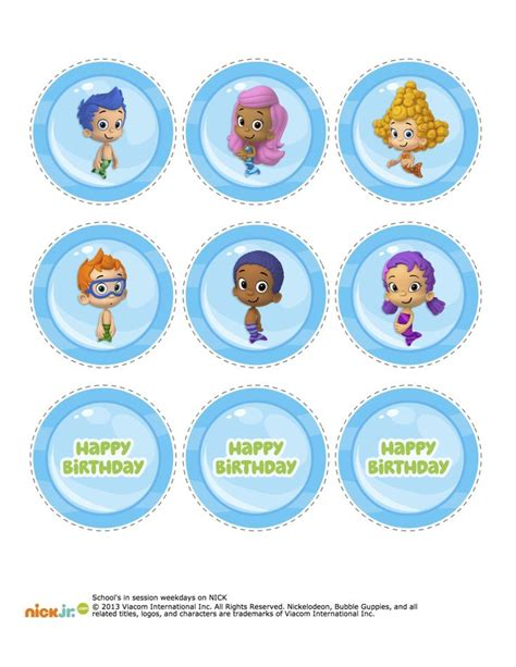 bubble guppies cupcake topper printable bubble guppie