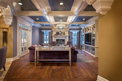 long view  contemporary living room  coffered
