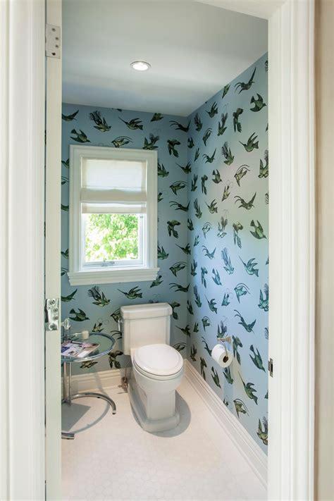 master bathroom  bird print wallpaper hgtv