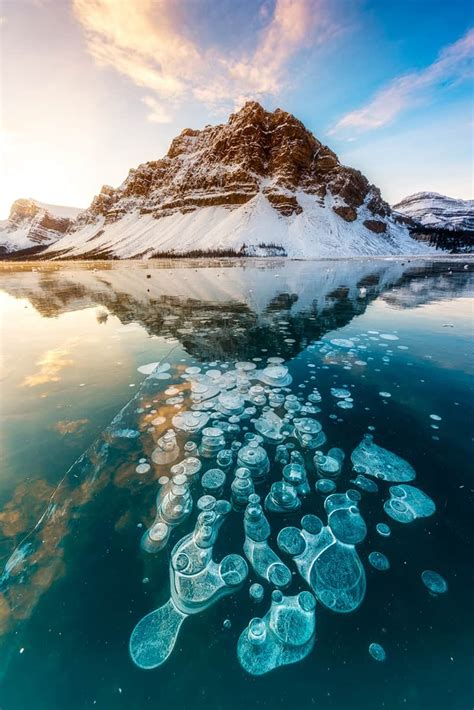 bubbles lake abraham frozen canada stunning methane ice alberta wallpapers mike air canadian iphone gas scenery designrulz amazing phone bow