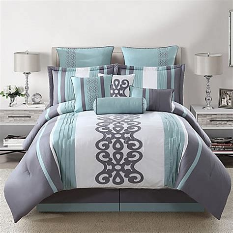 kerri 10 piece comforter set in teal silver white bed