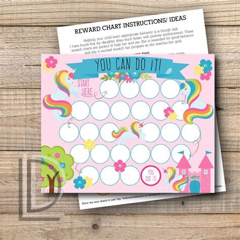 reward chart unicorn reward chart printable instant