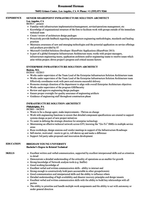 Sle Solution Architect Resume by Infrastructure Solution Architect Resume Sles Velvet