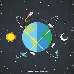 Earth with a rocket and satellites Vector | Free Download