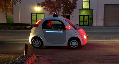 Google Self Driving Car With The Lights On