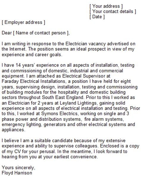 Industrial Electrician Resume Cover Letter by Electrician Cover Letter Sle