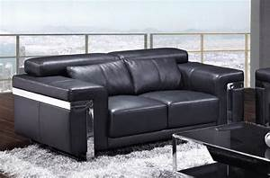 canape 2 places en cuir italien astoria noir mobilier prive With canapé cuir noir 3 2 places