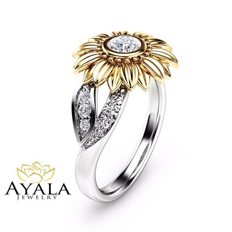 unique engagement ring natural ring in 14k two tone gold sunflower ring ebay