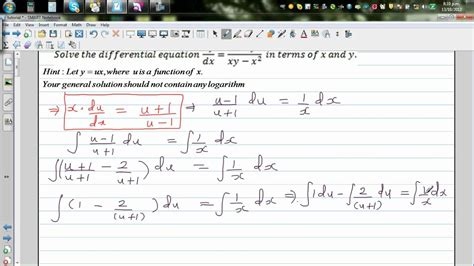 Solving Differential Equation Dy / Dx = (x^2+y^2)/ (xy