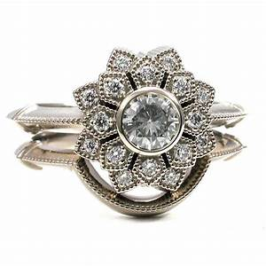 flower double halo engagement ring set diamonds and 14k With flower wedding ring set