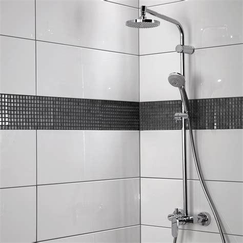 decoceram salle de bain fa 239 ence mur blanc brillant relief l 25 x l 75 cm leroy merlin