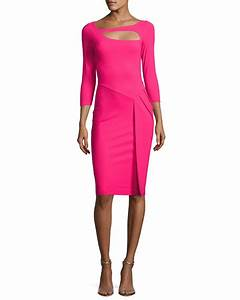 chiara boni la petite robe sunny 3 4 sleeve cutout With robe cocktail fushia