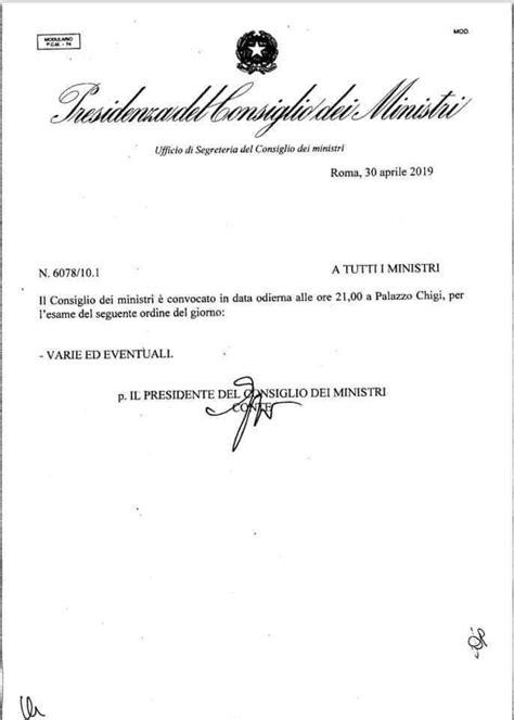 Ordine Giorno Consiglio Dei Ministri by Procedamus Le Quot Varie Ed Eventuali Quot Al Consiglio Dei Ministri