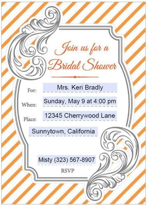bridal shower invitations editable orange gray label