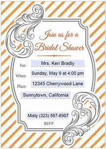 Make Your Own Invitations For Free Printable Bridal Shower Invitations Editable Orange Gray Label