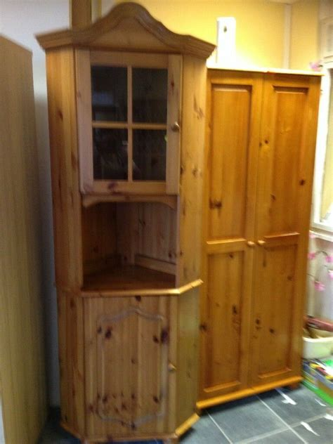 lovely pine tall corner cabinet good condition