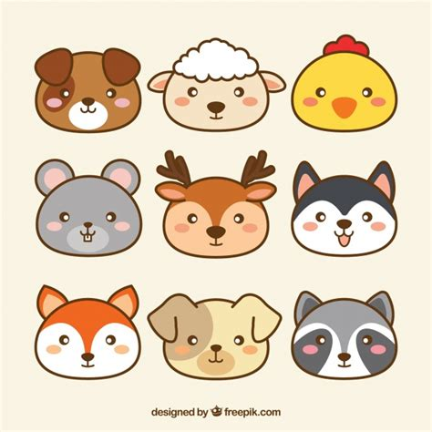 cute collection  kawaii animals vector