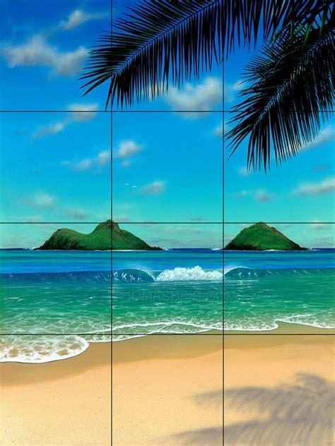 paradise tropical beach tile mural beach scene painting