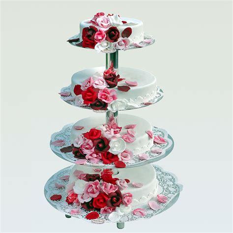 Rosenregen Auf Etagere Torte  Hochzeitstorte Online
