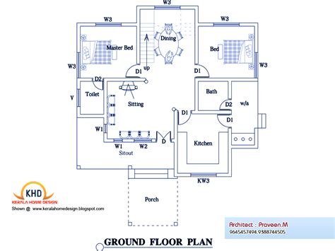 home plan com 3 bedroom home plan and elevation kerala home design and