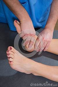 Ankle Joint Mobilization Therapy Of Doctor Man To Woman ...
