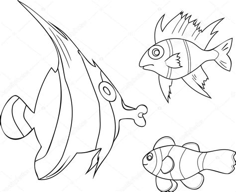immagini di pesci da colorare e ritagliare disegni da colorare con i pesci tropicali vettoriali