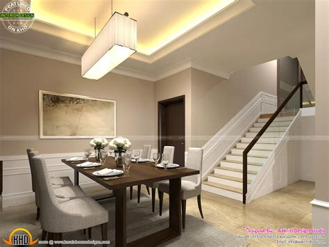 classic style interior design  living room stair area  dining kerala home design