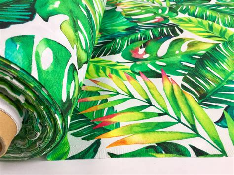 Banana Tropical Palm Leaves Botanical Green Leaf Print Cotton Fabric For Curtains Upholstery Curtain Sizes Uk Chicago Cubs Shower Curtains Diy Wood Dowel Rods Living Room Decor With White Extra Wide Canada Window In German Hand Painted Bamboo Vietnam Hospital Track For Home Use