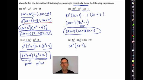 common core algebra ii unit 6 lesson 5 factoring by grouping youtube