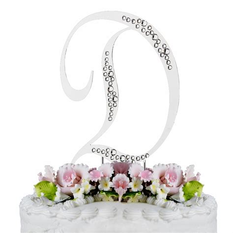 sparkle swarovski crystal wedding cake topper silver letter