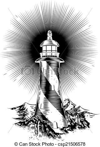 vectors illustration  wood block style lighthouse