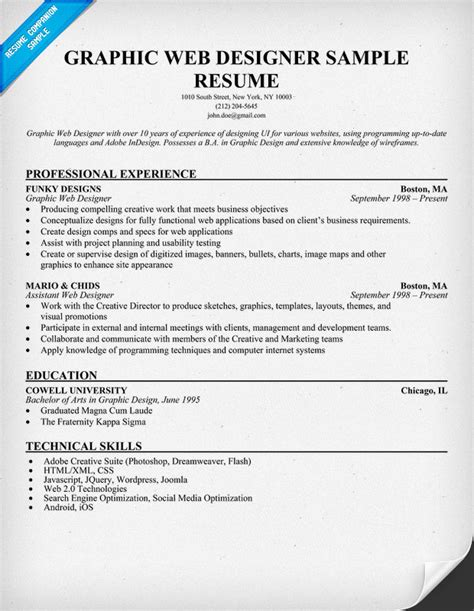 Graphic Designer Experience Resume Format by Graphic Web Designer Resume Sle Resumecompanion Resume Sles Across All Industries
