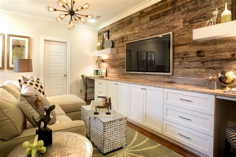reclaimed wood accent wall  built  desks elevate
