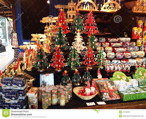 christmas decorations on sale in a market editorial stock
