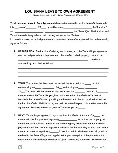 louisiana lease   agreement  word