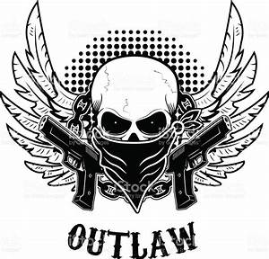 Outlaw Tshirt Print Design Template Skull With Two Guns ...