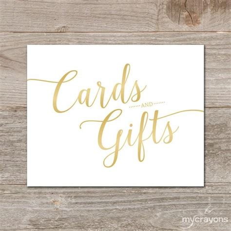 gradient gold cards  gifts sign printable wedding
