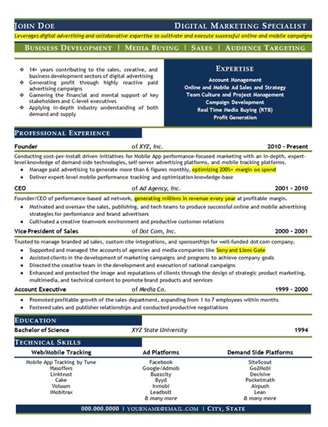 Digital Resume Exles by Digital Marketing Resume Exle