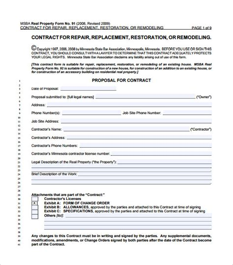 home remodeling contract templates word pages docs