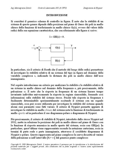 controlli automatici dispense diagrammi di nyquist theory systems theory