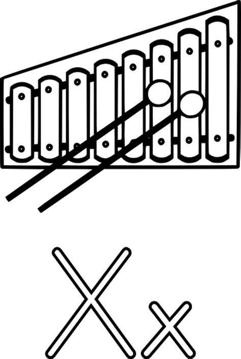 X For Coloring by X Is For Xylophone Clip At Clker Vector Clip