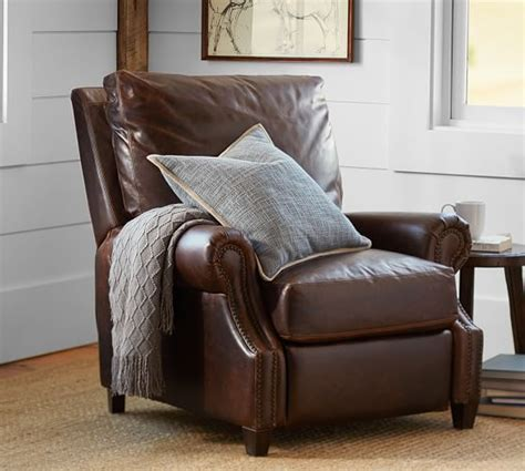 pottery barn ls sale james leather recliner pottery barn