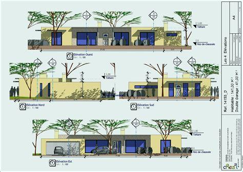 Plan Maison Moderne 3 Chambres by Maison En Bois Contemporaine Plain Pied Charmant Plan