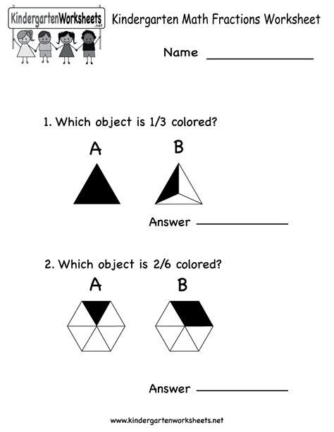 Kindergarten Math Fractions Worksheet  Free Kindergarten Math Worksheet For Kids